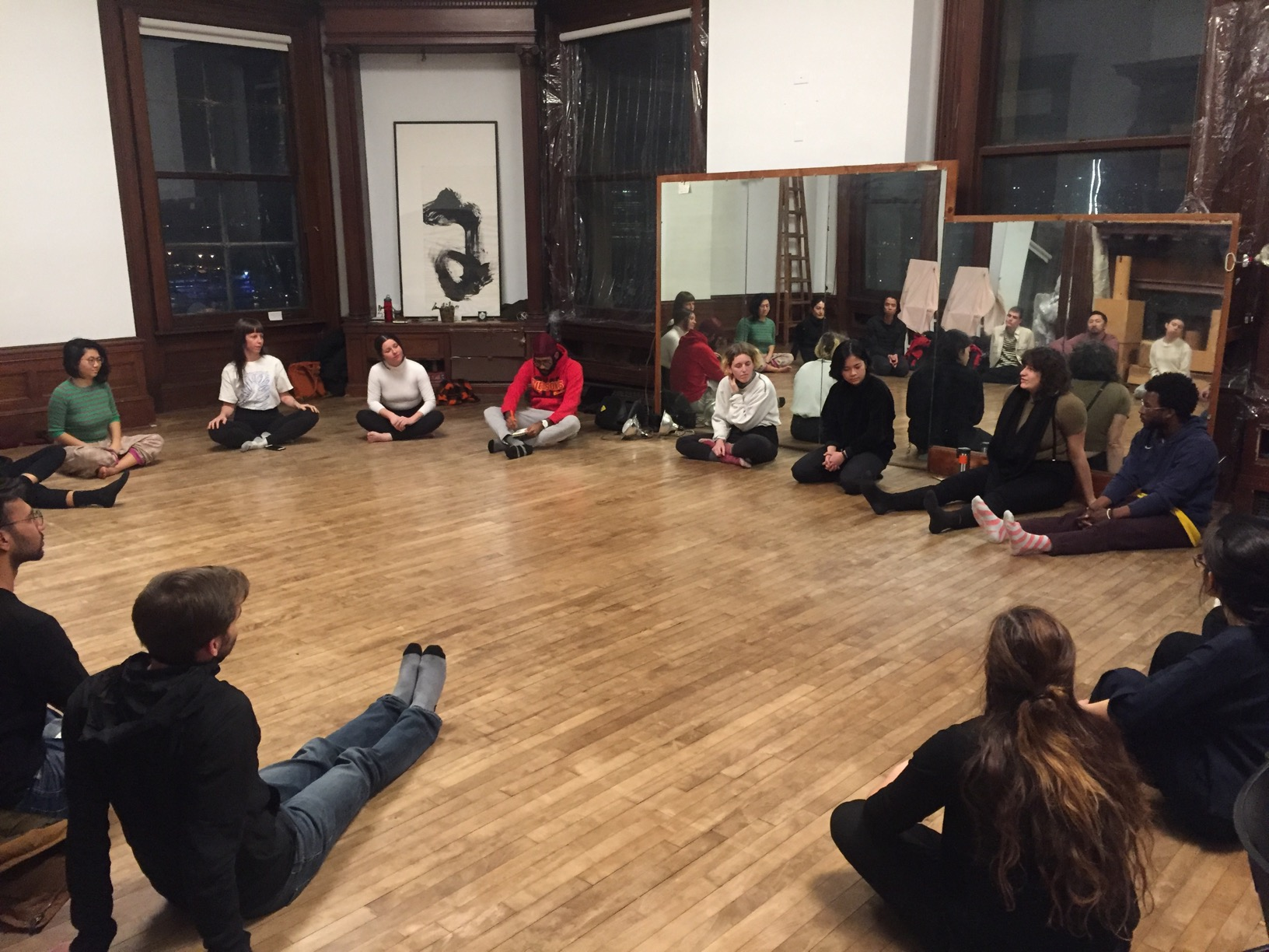 """Sitting in a circle before our first workshop"""